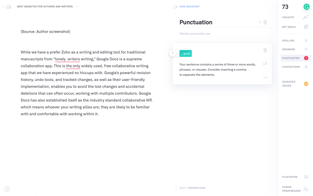 Grammarly for proofreading and spellchecking