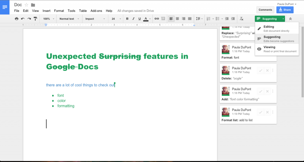 creating content in google docs