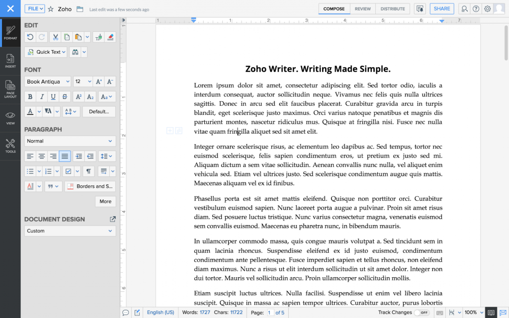 zoho writer - writing made simple